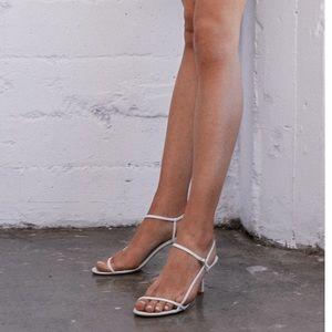 Tony Bianco Caprice white Kid strappy sandal heels